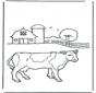 Koe bij boerderij