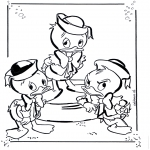 Stripfiguren kleurplaten - Kwik, Kwek en Kwak 1