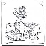 Stripfiguren Kleurplaten - Lady and the vagabond 1