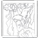 Kleurplaten Dieren - Leeuw op rots
