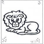 Kleurplaten Dieren - Liggende leeuw