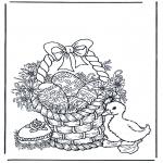 Thema Kleurplaten - Mand met paaseieren