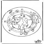 Mandala Kleurplaten - Mandala koe