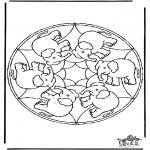 Mandala Kleurplaten - Mandala olifant
