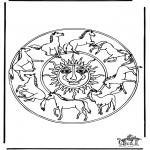 Mandala Kleurplaten - Mandala paarden 1