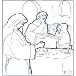 Kleurplaten Bijbel - Maria Martha en Jezus
