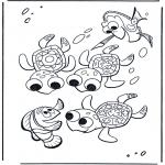 Kinderkleurplaten - Marlin en de schildpadden