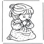 Kleurplaten Bijbel - Meisje bidt