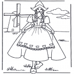 Allerlei Kleurplaten - Meisje bij molen