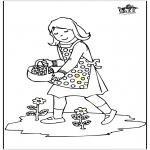 Kinderkleurplaten - Meisje met bloemen