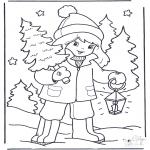 Kleurplaten Winter - Meisje met boom