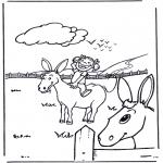 Kleurplaten Dieren - Meisje met ezel