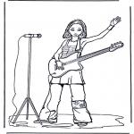 Allerlei Kleurplaten - Meisje met gitaar