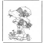 Allerlei Kleurplaten - Meisje met kuikentjes
