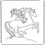 Kleurplaten dieren - Meisje op paard 1