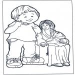 Kinderkleurplaten - Moeder met kinderen 2