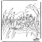 Kleurplaten Bijbel - Mozes in mandje