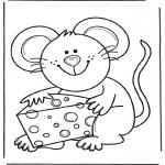 Kleurplaten Dieren - Muis met kaas