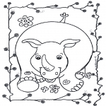 Kleurplaten Dieren - Neushoorn 2