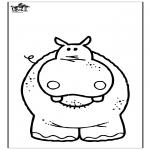 Kleurplaten Dieren - Nijlpaard 3