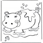 Kleurplaten Dieren - Nijlpaard in het water