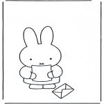 Kinderkleurplaten - Nijntje met brief