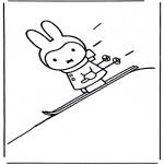 Kinderkleurplaten - Nijntje op ski's
