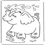 Kleurplaten Dieren - Olifant spuit water