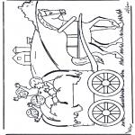 Kinderkleurplaten - Op de hooiwagen