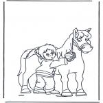 Kleurplaten dieren - Paard borstelen