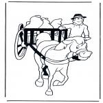 Kleurplaten dieren - Paard en wagen