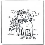 Kleurplaten dieren - Paard met bloemen