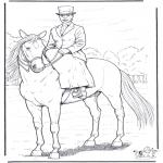 Kleurplaten dieren - Paard met dame