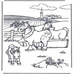 Kleurplaten dieren - Paarden kleurplaten