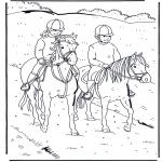 Kleurplaten dieren - Paardrijden 1