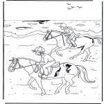 Kleurplaten dieren - Paardrijden 2