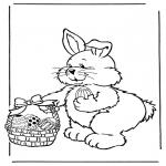 Thema Kleurplaten - Paashaas met eieren 2