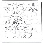Thema Kleurplaten - Paashaas puzzel 1