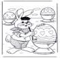 Paashaas schildert eieren