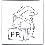 Kinderkleurplaten - Paddington met koffer