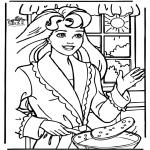 Stripfiguren Kleurplaten - Pannekoeken bakken