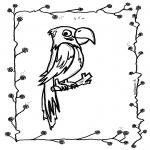 Kleurplaten dieren - Papegaai op stok