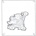 Kinderkleurplaten - Peuter in Buggy