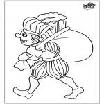 Knutselen Prikkaarten - Piet kleurplaat 3