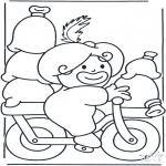 Knutselen Prikkaarten - Piet op de fiets