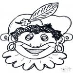 Knutselen Prikkaarten - Pieten masker