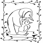 Kleurplaten Dieren - Pinguin 2