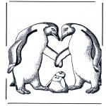 Kleurplaten Dieren - Pinguin en jong