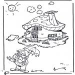 Kinderkleurplaten - Plop bij z'n huisje