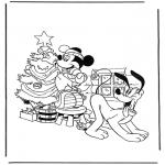 Stripfiguren Kleurplaten - Pluto en Mickey met kerstboom